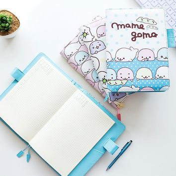 A5 B6 Cute Mamegoma PU Leather Notebook Weekly Monthly Planner Calendar Agenda Book School Office Supplies Kawaii Stationery