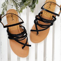 Aspyn Strappy Sandals (Black)
