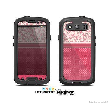 The Hot Pink Swirly Pattern with Polka Dots Skin For The Samsung Galaxy S3 LifeProof Case