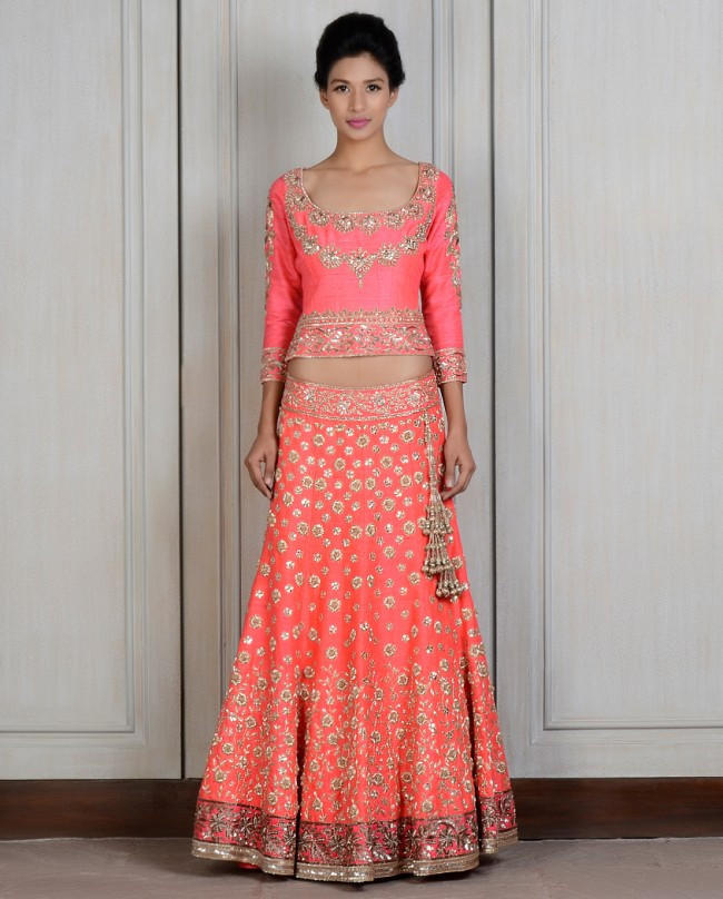 bb6137b420 Coral color lehenga choli from panachehautecouture.co.in | Hijab