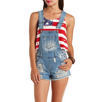 DESTROYED CUT-OFF DENIM SHORTALLS