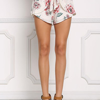 Ivory Floral Surplice Shorts