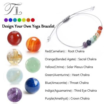 TL Top Selling Rainbow 7 CHAKRA Healing Bracelets 6mm Natural Beads Balance Yoga Bracelets for Women/Men Power Energy Bracelets