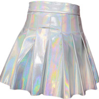 Woherb New  Fashion Japanese Harajuku Cool A-Line Skirt Silver Shiny Pleated Mini PU Skirts Woman Sexy High Waist Skirt 2734 SM6