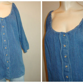 vintage Peasant DENIM pintuck top shirt 3/4 sleeve women large boho bohemian coachella Blouse