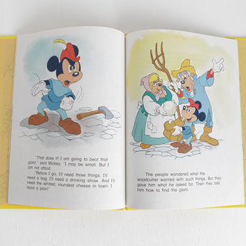 Vintage 1986 Walt Disney Mickey Meets the Giant Childrens Book, Mickey Mouse Childrens Book