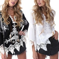Women V Neck Boho Floral Shirt Long Sleeve Lace Up Crochet Shirt Blouse Tops US