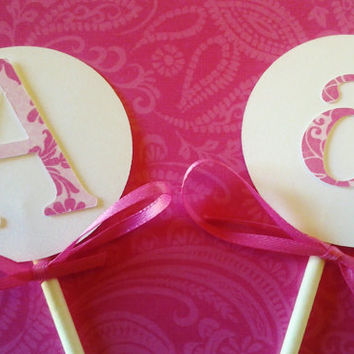 Initial toppers, wedding toppers, monogram toppers, damask cupcake, birthday cupcake, initial toppers