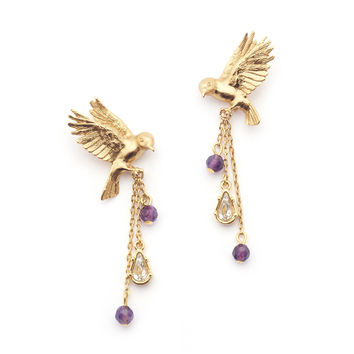 Bill Skinner Gold Swooping Bird Earrings
