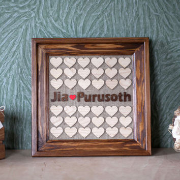 Wedding Guest book, Guest Book Frame, Heart Guest book, Personalized Guest book, Drop Box