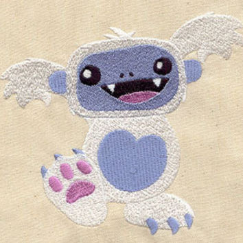 Adorable Yeti embroidered baby bib by MorningTempest on Etsy