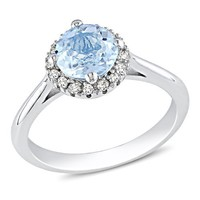 Sterling Silver Blue Topaz and Diamond Ring (0.01 cttw, G-H Color, I2-I3 Clarity)