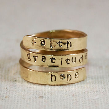 Personalized Gold Ring 14K Solid GOLD Wrap Ring Name Ring Mothers Ring