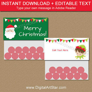 Christmas Bag Labels, Santa Bag Topper Template, Christmas Party Bag Toppers, Holiday Treat Bag Toppers, Elf Bag Tags Instant Download C2