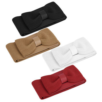 Women Belt Elastic All-match Bow Wide Stretch