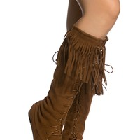 Camel Faux Suede Fringe Lace Up Boots @ Cicihot Boots Catalog:women's winter boots,leather thigh high boots,black platform knee high boots,over the knee boots,Go Go boots,cowgirl boots,gladiator boots,womens dress boots,skirt boots.