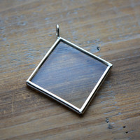 SILVER Glass Pane Pendant DIAMOND Shape Single Sided Glass Picture Frame Pendant Charm Jewelry Pendant (BD046)