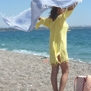 High Quality Turkish towel, Peshtemal, Bath towel, Beach Towel , Hammam, Bridesmaids, Yoga, Spa, Sports,  Gift, Blue Striped,