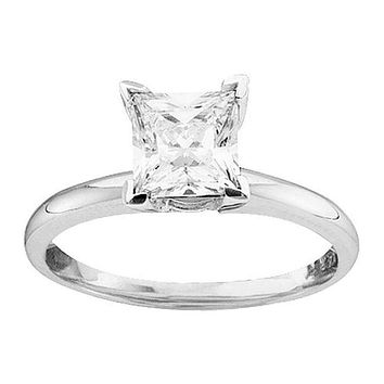 14kt White Gold Women's Princess Diamond Solitaire Bridal Wedding Engagement Ring 1.00 Cttw - FREE Shipping (US/CAN)