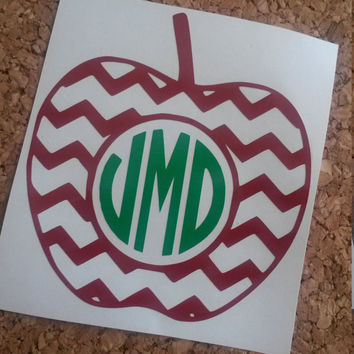 Apple Monogram | Teacher Monogram | Teacher Gift | Teachers Pet | Apple Vinyl Decal | Chevron Apple Monogram |
