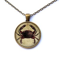 Nautical jewelry Crab pendant Marine necklace CWAO99-1