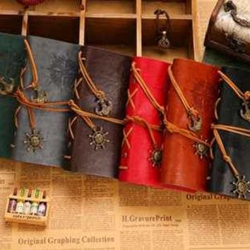 W-Free shipping vintage leaf faux Leather pirate cover travel journal 12 colors notebook(1piece)