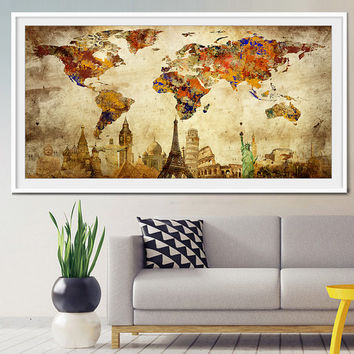 Travel map, world travel map, travel map push pin, push pin travel map, travel poster, vintage travel poster, art poster -x306