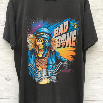 Bad To The Bone Moto T Shirt - Biker Motorcycle T-shirt - Unisex Size L - Skull Motorcycle - Black - Vinatge Tee - 80s 90s - Moto Clothing