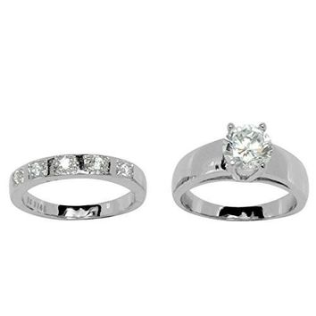 Beautiful Two Piece Round CZ Wedding Set Style Stainless Steel Ring with 5 CZ Stone Band Accent
