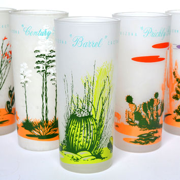 Set of 5 Vintage 1950's Blakely Oil Frosted Drinking Glasses Cactus of Arizona 16 oz Tumblers