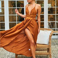Pure Desire Maxi Dress Camel