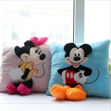 35*35cm Mickey Mouse and Minnie plush Pillow Cushion,Cartoon Mickey Mouse and Minnie