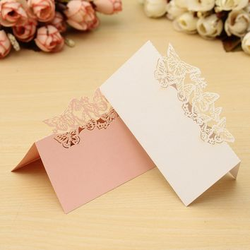 Laser Cut Name Place Card 50Pcs/lot Paper Vine Seat Cards Wedding Celebration Birthday Party Table Card Seats Decoration