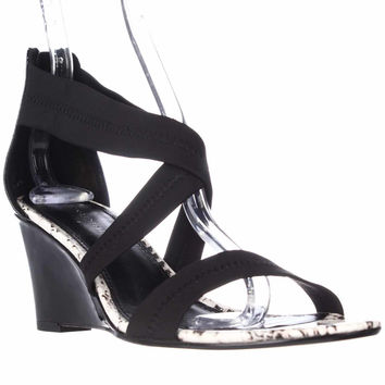 Donald J Pliner Jovia Wedge Cross Strap Sandals - Black