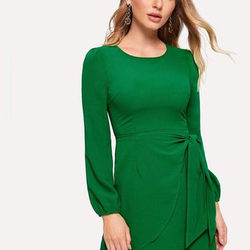 Zip Back Knot Front Dress
