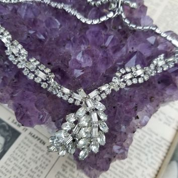 Vintage rhinestone princess cluster baguette and marquise cut necklace