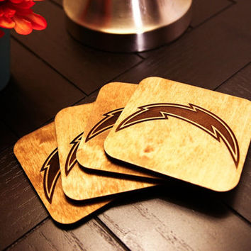 Custom Engraved Wood NFL Football Team Coasters