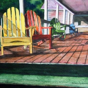 Peaceful Porch, Barbara Rosenzweig, Art Print, Etsy, Reproduction of Original Watercolor Painting