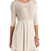 Crochet-Trimmed Striped Sweater Dress - Oatmeal Heather