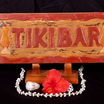 """""""TIKI BAR"""" SIGN HAND CARVED & HAND PAINTED - DECOR"""