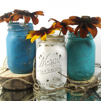 Colored Mason Jars -- Rustic, Mason Jar Vase Set -- Hand Painted, Home Decor