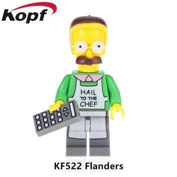 Single Sale Simpsons Family Flanders Bart Mihouse Sally Action Figures Building Blocks Bricks Learning Gift Toy Children KF522