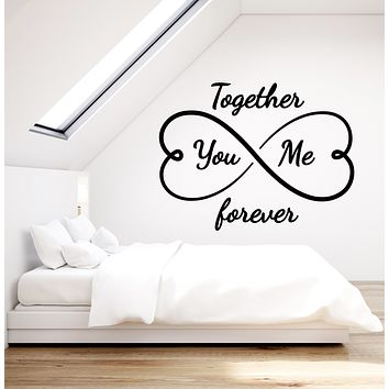 Vinyl Wall Decal You And Me Together Forever Infinity Bedroom Hearts Stickers Mural (g175)