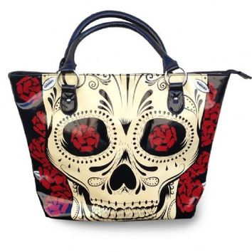 This awesome patent leather tote bag features a unique tattoo sugar skull print on front and rose print on back, and solid black fabrication lining, 1 zipped compartment and 2 other unzipped compartments, top zipper closure with rounded handles have an 6.7