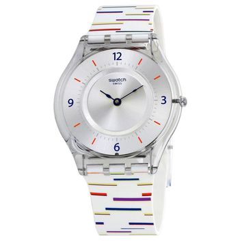 Swatch Thin Liner Silver Dial Ladies Rubber Watch SFE108