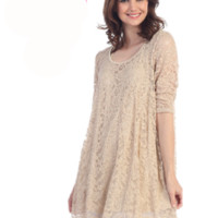 Honeyme Taupe  Vintage Romantic Lace Tunic Top S M L Plus