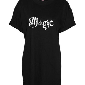 Magic Harry Potter Hogwarts triangle crew neck shirt unisex womens mens ladies  print tshirt
