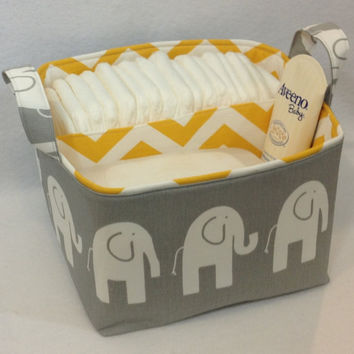 "LG Diaper Caddy 10""x10""x7"" Fabric Storage Bin Organizer, Basket, White/Grey Elephant with Yellow/White Chevron Lining"