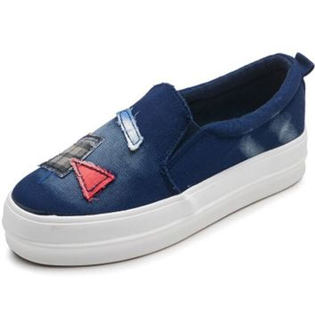 Nice New Cowboy Canvas Shoes Female Fall A Pedal Thick Lazy Cloth Shoes Korean Student