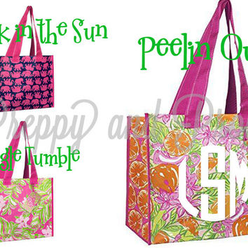 Personalized Monogrammed Lilly Pulitzer Market Bag in Peelin'Out|Jungle Tumble|Tusk in the Sun